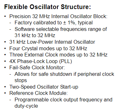 PIC16F1827のデータシート(Flexible Oscillator Structure)