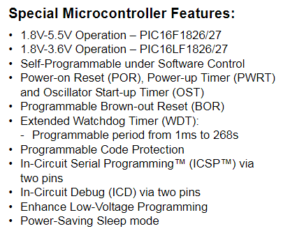 PIC16F1827のデータシート(Special Microcontroller Features)